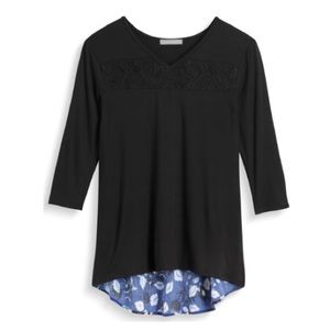 Loveappella- StitchFix Ledia Woven detail knit top
